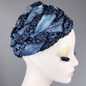 Vintage 40s Indigo Raffia Straw Turban Hat Pin Up